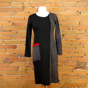 blocked-contrasting-fabrics-of-cotton-fleece-and-polyester-jacquard-with-red-rib-accents-dress-to-mid-calf