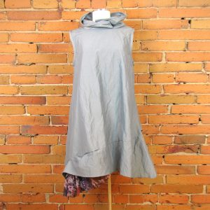 cotton-polamide-metal-fabric-dress-with-netting-accent