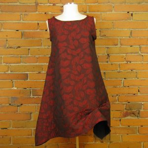 red-leaf-jacquard-dress-with-black-netting-and-wired-collar