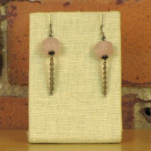 rose-quartz-bead-with-sterling-chain-on-a-sterling-earring-hook